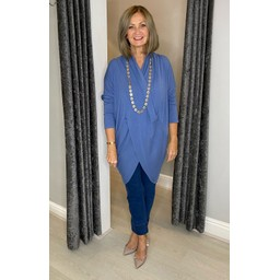 Lucy Cobb Timah Plain Crossover Tunic in Denim Blue