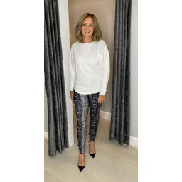 Lucy Cobb Milani Magic Joggers in Silver Snake