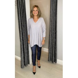 Lucy Cobb Olivia Oversized Jumper in Silver Grey