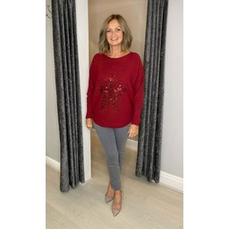 Lucy Cobb Remy Ribbed Sequin Star Jumper in Burgundy