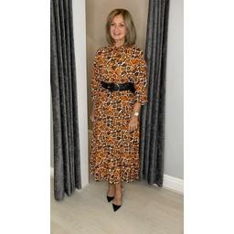 Lucy Cobb Gianna Printed Midi Dress in Rust