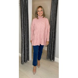 Lucy Cobb Cleo Cable Knit Jumper in Baby Pink