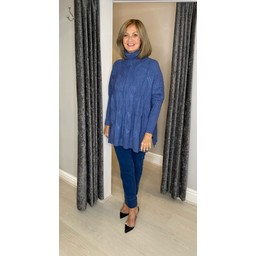 Lucy Cobb Cleo Cable Knit Jumper in Denim Blue