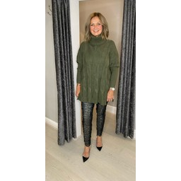 Lucy Cobb Cleo Cable Knit Jumper in Khaki
