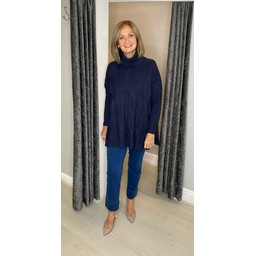 Lucy Cobb Cleo Cable Knit Jumper in Navy