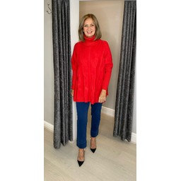 Lucy Cobb Cleo Cable Knit Jumper in Red