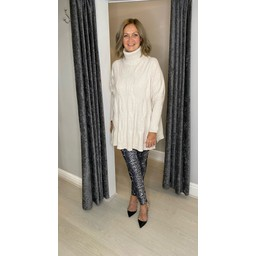 Lucy Cobb Cleo Cable Knit Jumper in Stone
