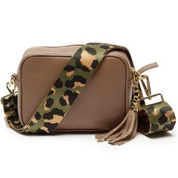 Elie Beaumont Leather Crossbody Bag - Taupe with Green Leopard