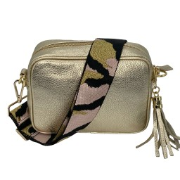 Elie Beaumont Leather Crossbody Bag in Gold with Pink Camo