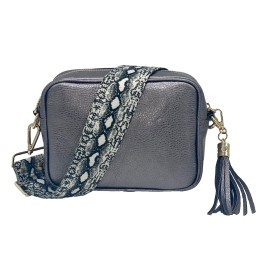 Elie Beaumont Leather Crossbody Bag - Pewter with Python