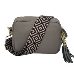 Elie Beaumont Leather Crossbody Bag in Grey with Diamond