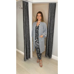 Lucy Cobb Calli Chunky Knit Cardigan in Silver