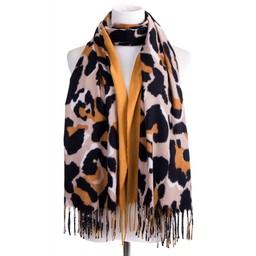 Lucy Cobb Accessories Sienna Stripe Leopard Scarf in Mustard