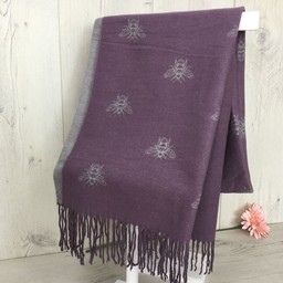 Lucy Cobb Accessories Bee Reversible Pashmina in Purple