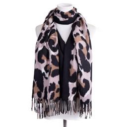 Lucy Cobb Accessories Sienna Stripe Leopard Scarf in Black