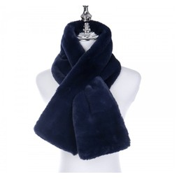 Lucy Cobb Accessories Faye Faux Fur Scarf in Navy