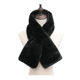 Lucy Cobb Accessories Faye Faux Fur Scarf in Black