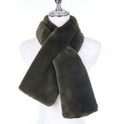 Lucy Cobb Accessories Faye Faux Fur Scarf in Khaki