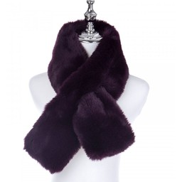 Lucy Cobb Accessories Faye Faux Fur Scarf in Plum
