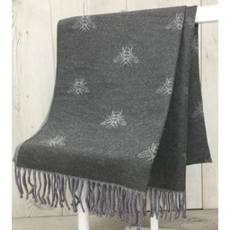 Lucy Cobb Accessories Bee Reversible Pashmina in Mid Grey