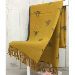Lucy Cobb Accessories Bee Reversible Pashmina in Mustard