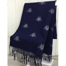 Lucy Cobb Accessories Bee Reversible Pashmina in Navy