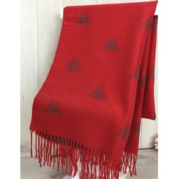 Lucy Cobb Accessories Bee Reversible Pashmina in Red