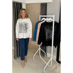 Lucy Cobb Rosy Diamante Zebra Sweatshirt - Teal