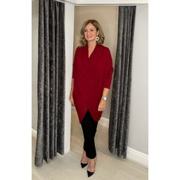 Lucy Cobb Timah Plain Crossover Tunic in Burgundy
