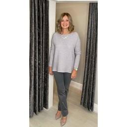 Lucy Cobb Reya Ribbed Jumper in Silver Grey
