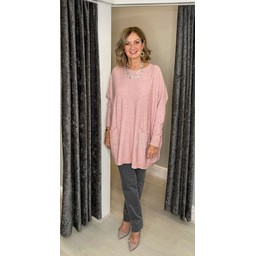 Lucy Cobb Pennee Pearl Pocket jumper in Baby Pink