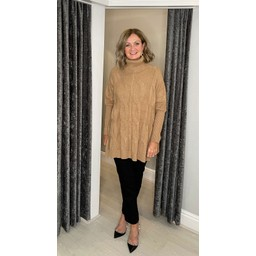 Lucy Cobb Cleo Cable Knit Jumper in Camel