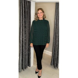 Lucy Cobb Clemmie High Neck Top in Emerald Chain