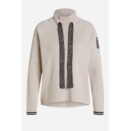 Oui Jumper With Stand-Up Collar - Oatmeal