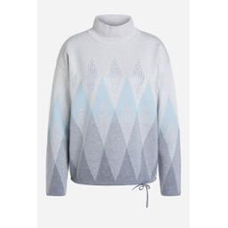 Oui Organic Cotton Diamond Print Jumper - Light Grey
