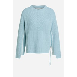 Oui Knitted Jumper with Zip - Aqua Blue