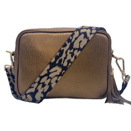 Elie Beaumont Leather Crossbody Bag - Bronze With Leopard