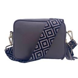 Elie Beaumont Leather Crossbody Bag - Grey with Diamond