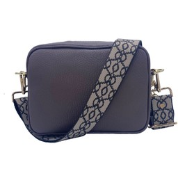 Elie Beaumont Leather Crossbody Bag - Grey with Baroque