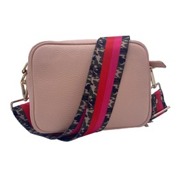 Elie Beaumont Leather Crossbody Bag - Pink with Army Stripes