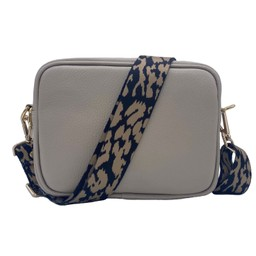 Elie Beaumont Leather Crossbody Bag - Stone With Leopard