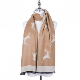 Lucy Cobb Accessories Stag Scarf - Taupe