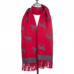 Lucy Cobb Accessories Horse Scarf - Red