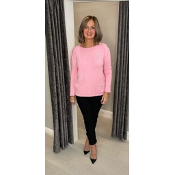 Lucy Cobb Connie Luxury Multi Star Jumper in Baby Pink