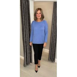 Lucy Cobb Connie Luxury Multi Star Jumper in Cornflower Blue