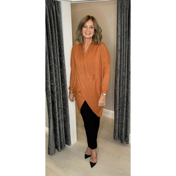 Lucy Cobb Timah Plain Crossover Tunic in Pumpkin