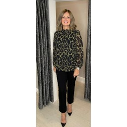 Lucy Cobb Clemmie II Animal Print Top in Khaki