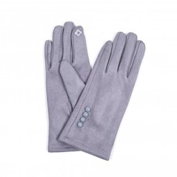 Lucy Cobb Accessories Brie Button Gloves in Silver