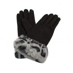 Lucy Cobb Faith Faux Fur Cuff Gloves in Charcoal