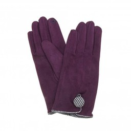 Lucy Cobb Accessories Dixie Dogtooth Button Gloves in Plum